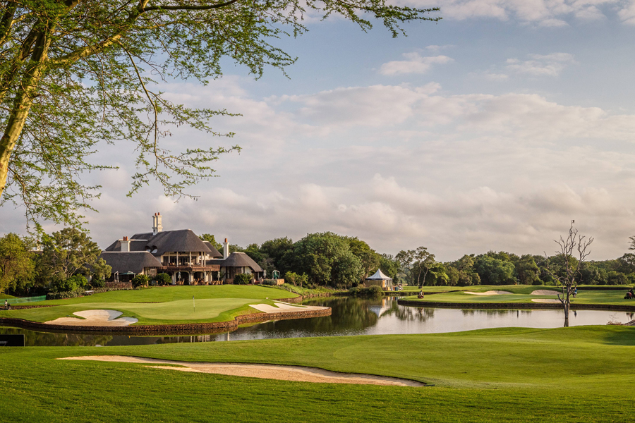 The treacherous 18th green at Leopard Creek, which has sunk many a professional's championship hopes.