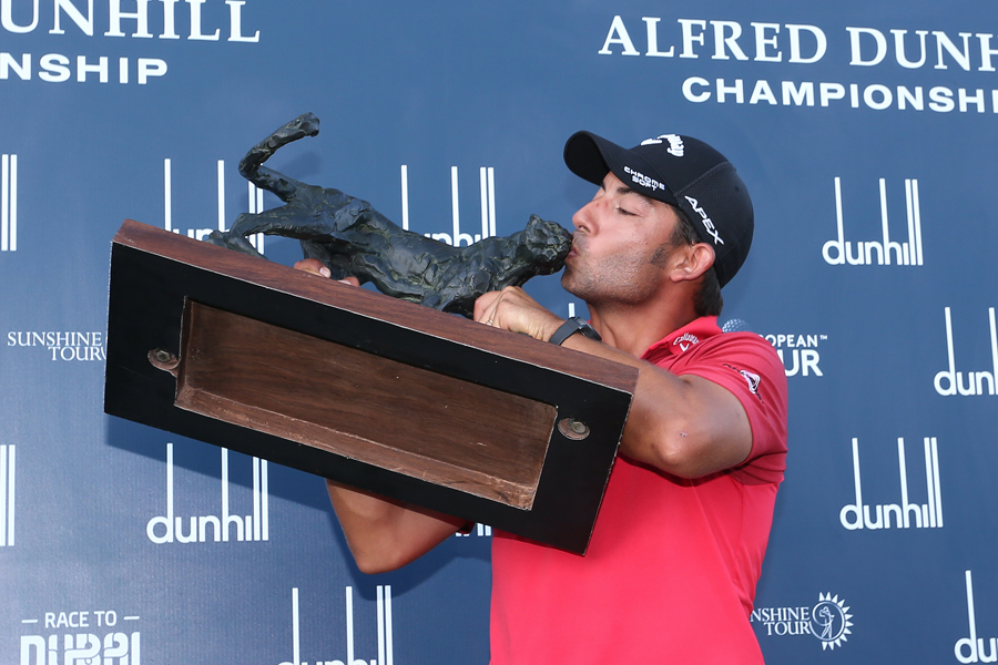 Spain's Pablo Larrazábal with his trophy after winning the 2019 Alfred Dunhill Championship.